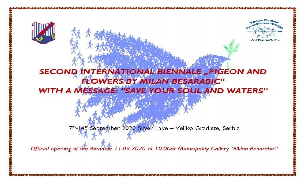 Izložba 2 Međunarodnog bijenala Golub i cveće Milana Besarabića u Velikom Gradištu