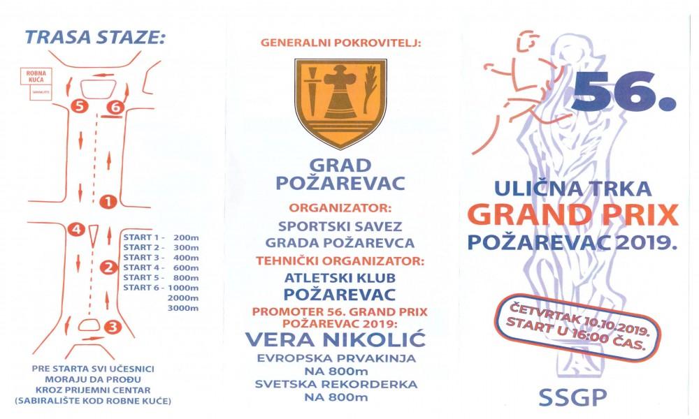 10. OKTOBRA ODRŽAĆE SE 56. ULIČNE TRKE GRAND PRIX  POŽAREVAC 2019.