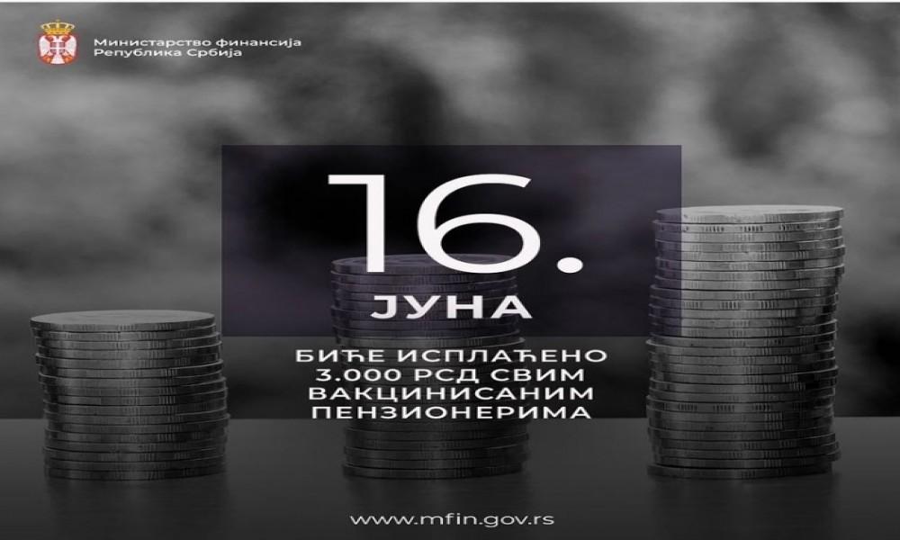Isplata 3.000 dinara 16. juna za vakcinisane penzionere