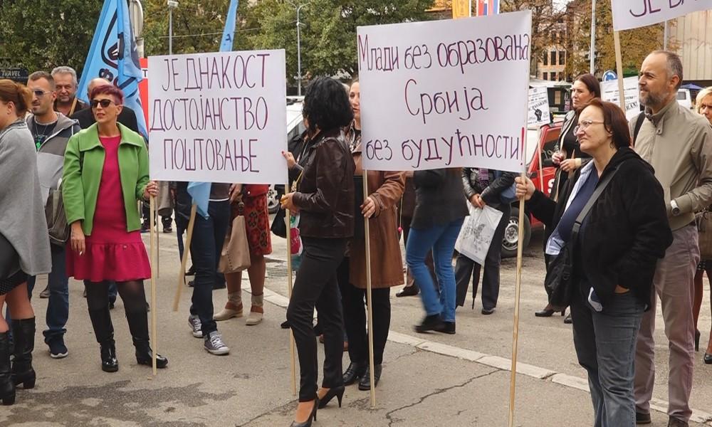 PROSVETNI RADINCI ORGANIZOVALI PROTEST